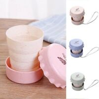 EG_ 130ml Travel Portable Wheat Straw Collapsible Water Cup Drinking Mug Exquisi