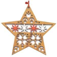 Christmas Tree Decoration 12924 Wood Star Brown Gisela Graham 12924