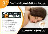 3 Inch Visco Elastic Memory Foam Mattress Topper 50kg/m3 Density with Cover