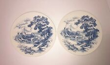 """Set Of 2 Wedgwood & Co. Ltd England Countryside Blue 10"""" Dinner Plates Excellent"""