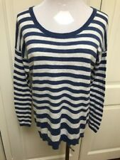 Vince White Blue Womens Size XS Striped 100% Cotton  Crewneck Sweater
