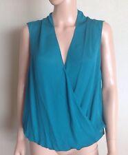 Haute Hippie Blue Silk Wrap Blouse Top L NWT $235