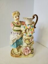 Vtg Tilso Hand Painted Porcelain Woman w/ Pitcher & Wreath Made in Japan