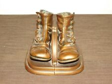 """Vintage 6 1/2"""" Long 5"""" High Bronze Button Hook Baby Shoes Bookends"""