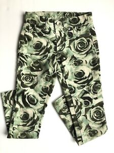 Justice Premium Jeans Printed Jeggings Girls Size 7S Slim Simply Low Green Roses