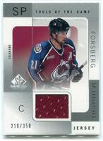 2000-01 SP Game Used Tools of the Game Exclusives Peter Forsberg Jersey /350 (a)