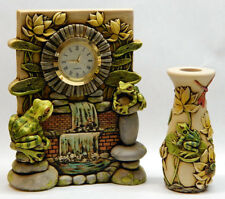 Harmony Kingdom Art Neil Eyre Designs Frog lotus flower desk clock vase set upic