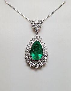 Natural EMERALD &  DIAMOND PLATINUM NECKLESS - N6354