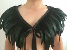 Christmas Black Green Feather Collar Cape Shawls Wrap Fringe Evening Dress Party
