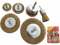 Amtech 6pc Rotary Wire Wheel Cup Brush Set 6mm Shank Clean Rust Remover Drill
