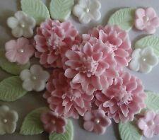 Pale pink large flower bouquet Edible sugar paste flowers Cupcakes wedding birth