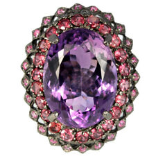23.80 CT. REAL AAA PURPLE AMETHYST TOURMALINE RUBY STERLING 925 SILVER RING 6.5