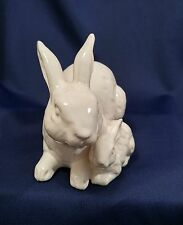 Rosenthal Netter Mother & Baby Resting Rabbits White with Taupe Shading