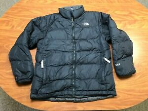 BOYS USED THE NORTH FACE BLACK 550 DOWN ZIP UP PUFFER JACKET SIZE YOUTH LARGE