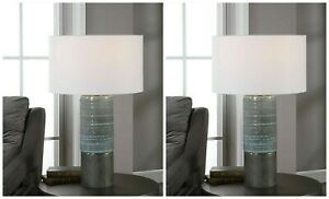 "PAIR PROVA URBAN BOHEMIAN INSPIRED CERAMIC XL 28"" TABLE LAMP UTTERMOST 28372"