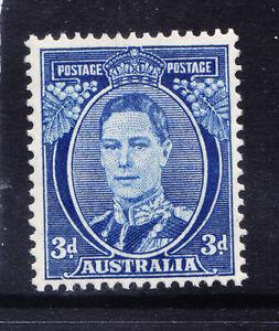 AUSTRALIA 1940 George VI SG186 3d bright blue P15x14 unmounted mint. Cat £48