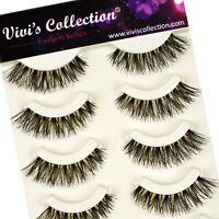 Vivis V110 Eyelashes False Fake Eye Lashes Long Thick Natural Set Makeup 5 Pairs