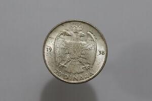 YUGOSLAVIA 20 DINARA 1938 SILVER HIGH GRADE B25 #Z5455