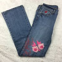 Rocawear Women's Embroidered Jeans Distressed Floral RW Boot cut Junior Size 5