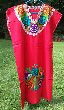Maya Mexican Dress Embroidered Flowers Chiapas Puebla Red Rainbow Large XL #FY