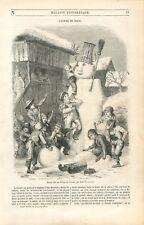 Bonhomme de Neige Brieuz Luge Enfant Alpes Berne Suisse/Église Brou GRAVURE 1850