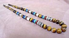"""Navajo Sterling Silver & Tigers Eye 26"""" Necklace by Tommy & Rosita Singer JN0248"""