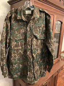 NOS Mossy Oak Green Leaf Classic Button Down Shirt L Made in USA tree stand