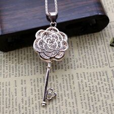 Fashion Women Crystal Flower Key Pendant Long Chain Sweater Necklace Gift