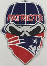 New England Patriots~Iron On Skull with Bandana Patch~Free Shipping from the USA