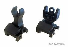 DLP Tactical Spartan HK Style Metal Folding Front & Rear BUIS Iron Sight Set