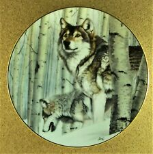 Broken Silence Plate Year of the Wolf Al Agnew Howling Wolves Forest in Winter