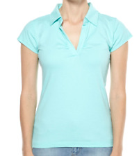 Elite Aqua Blue Ruched V Neck Polo Crop Sleeve Sports Top 10 Stretch Cotton