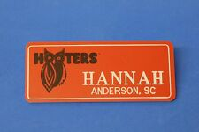 ORANGE HOOTERS GIRL NAME TAG PIN (name in white) HANNAH Anderson, SC