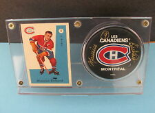 MAURICE (THE ROCKET) RICHARD #2 1959-60 PARKHURST CARD & AUTOGRAPHED PUCK W/ COA