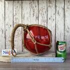 Large 8  Red Glass Fishing Float w  Weathered Rope Netting  Nautical Decor Ball