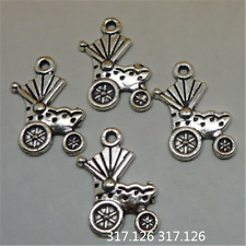 20X Tibetan Silver Pram Baby Carriage Pendant Beads Charm Findings 15*19mmGU237