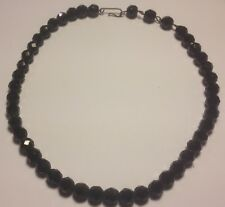 Glass Graduated Necklace Vintage Jet Black