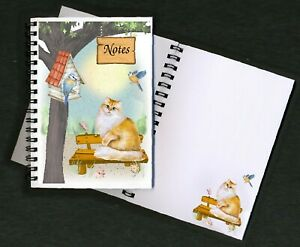 """Cat Notebook/Notepad, (6"""" x 4"""") Design No. 5 with small image on every page"""