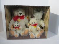 Teddybear STEIFF Box Set of 4 White Signed Tags Growler Vtg Mohair #0203