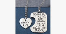 Nana's Girl Pendant Set - Silver Color– Stamped for a Personal Effect