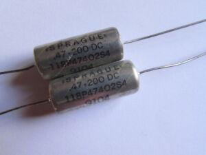 .47uF 200V Sprague 118P47402S4 Metalized DI-FILM Capacitors Glass End Seal, 2pcs