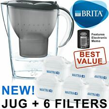 BRITA Marella MAXTRA+ Plus 2.4L Water Filter Jug + 6 Month Cartridges Pack, Grey