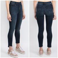 $205 Mother Denim Stunner Zip Ankle Step Fray Hem Dark Wash Skinny Jeans Sz 30