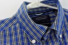 Roundtree Yorke Trademark Mens 2 Ply Dress Shirt Size Small Blue Plaid Non Iron