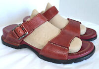 Rockport Strappy Slide Sport Sandal Woman 6 M Red Leather Slip On Low Wedge Heel