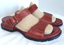 Rockport Strappy Slide Sport Sandal Woman 6 M Red Leather Slip On Low Wedge Heel