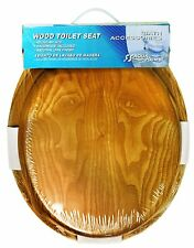 Round Toilet Seat Natural Oak Wood Finish and Satin Nickel Hinges
