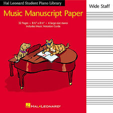 Hal Leonard Student Piano Library: Music Manuscript Paper Wide Staff Book Theor