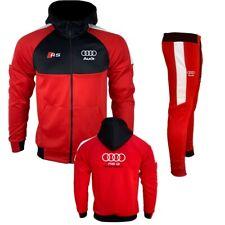 Survêtement AUDI noir rouge bandes blanche 2020 Made in Italie BK-13838