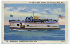 Mystic Isle Steamer Put In Bay Auto Ferry Ohio linen postcard